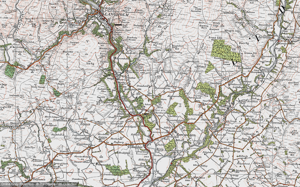 Old Map of Historic Map covering Albierig in 1925