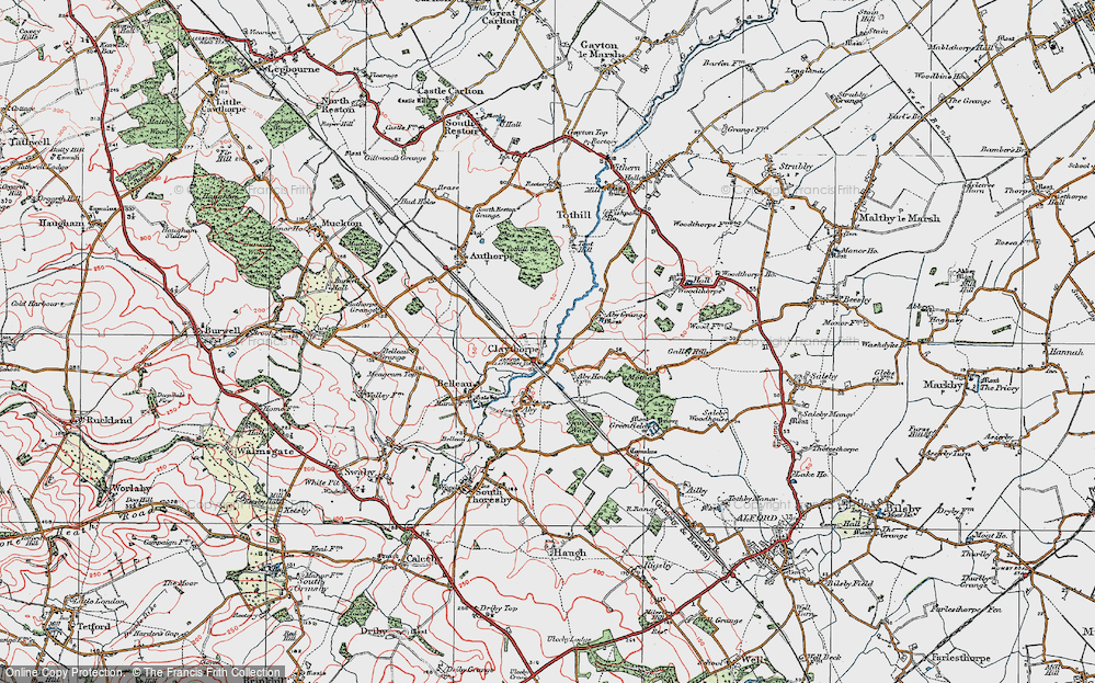 Old Map of Historic Map covering Aby Grange in 1923
