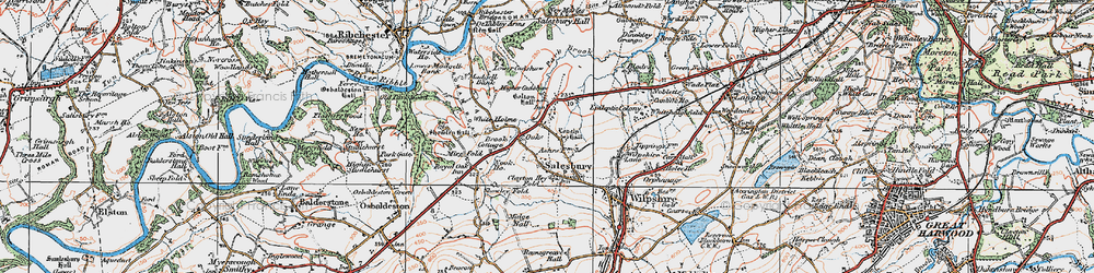 Old map of White Holme in 1924