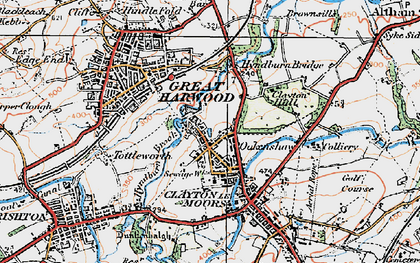 Old map of Clayton-Le-Moors in 1924