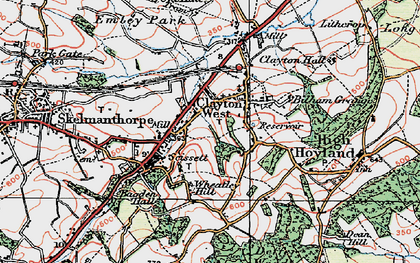 Old map of Clayton West in 1924