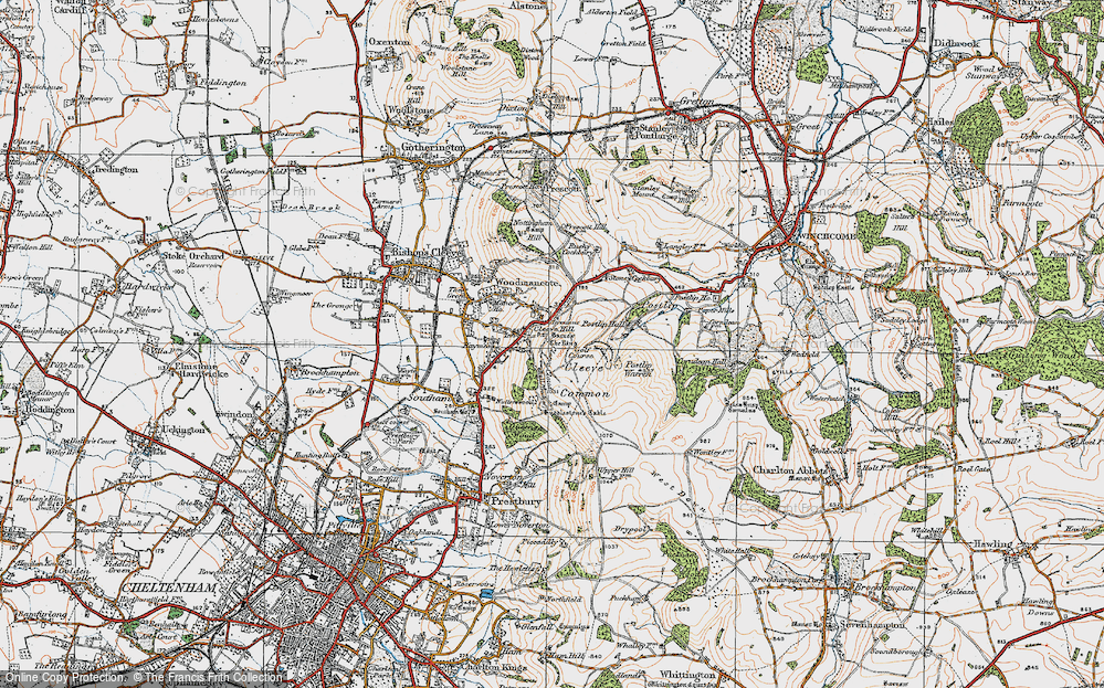 Old Map of Cleeve Hill, 1919 in 1919