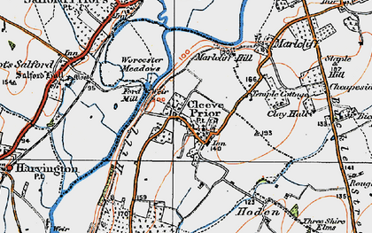 Old map of Cleeve Prior in 1919