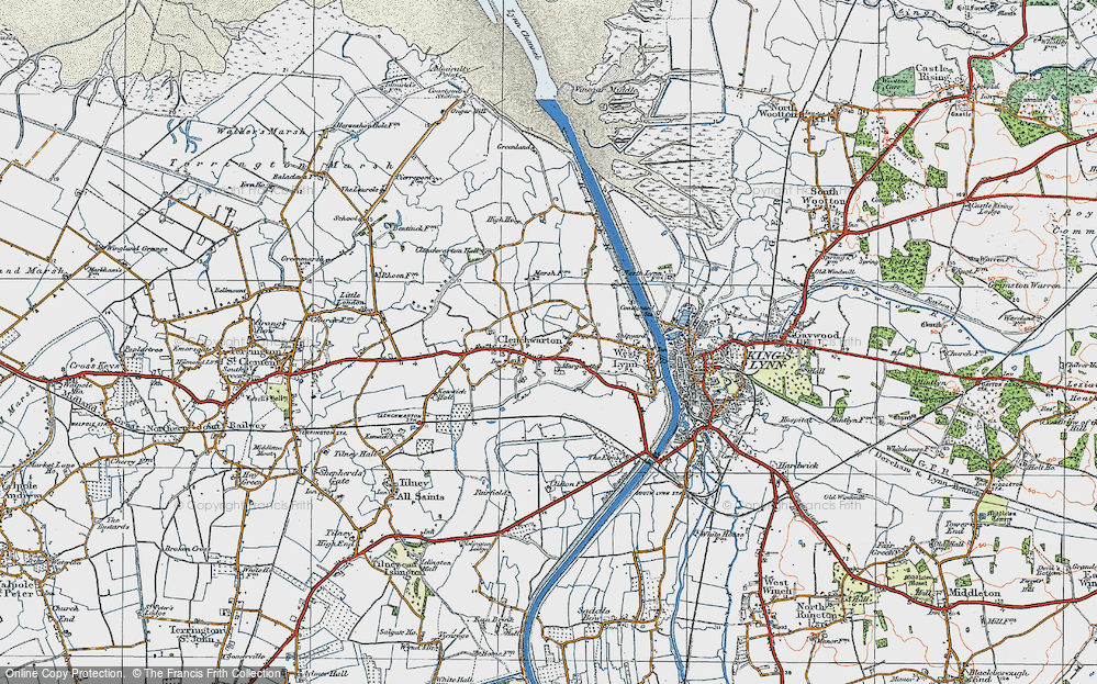Old Map of Historic Map covering Banklands in 1922