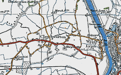 Old map of Clenchwarton in 1922