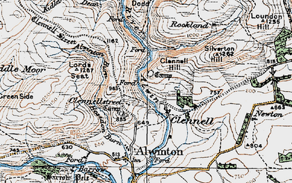 Old map of Alwinton Burn in 1925