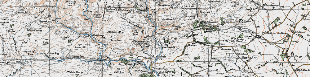 Old map of Wholehope in 1925
