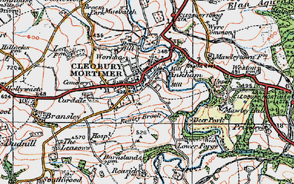 Old map of Cleobury Mortimer in 1921