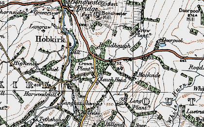 Old map of Wolfelee Hill in 1926