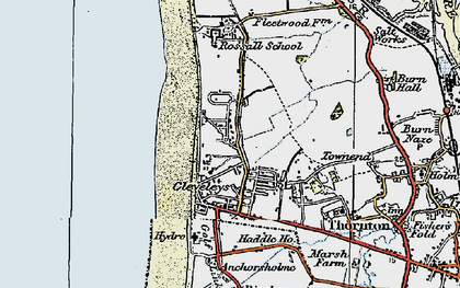 Old map of Cleveleys in 1924