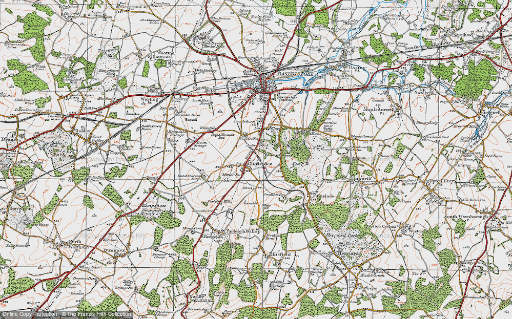 Old Map of Historic Map covering Audleys Wood in 1919