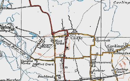 Old map of Cliffe in 1921