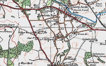 Old map of Clifford in 1925