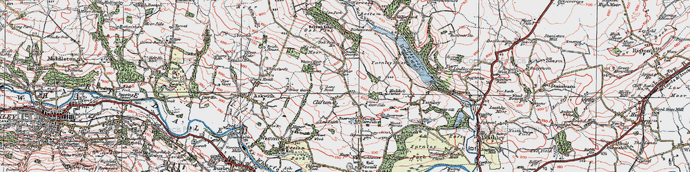 Old map of Weston Moor in 1925