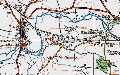 Old map of Lavendon Mill in 1919