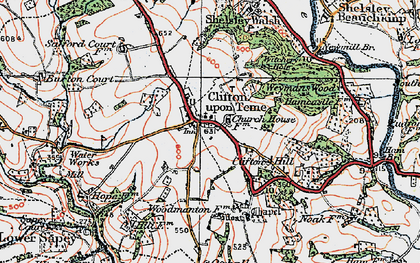 Old map of Clifton upon Teme in 1920