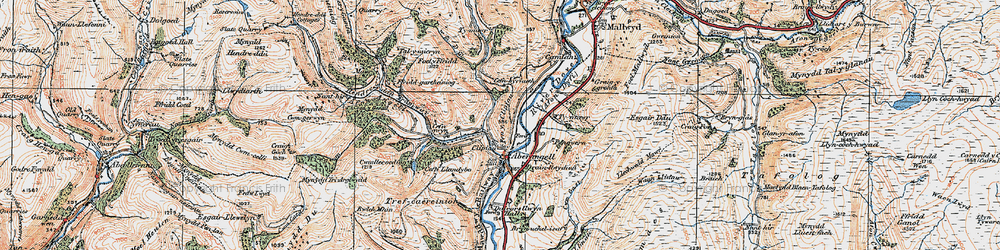 Old map of Afon Angell in 1921