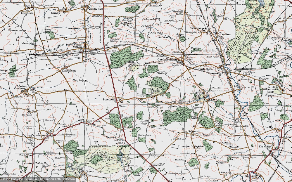 Old Map of Historic Map covering Addah Wood in 1922