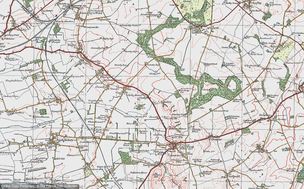 Old Map of Historic Map covering Audleby Low Covert in 1923