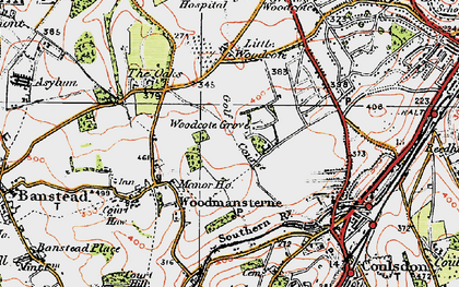 Old map of Woodcote Grove Ho in 1920