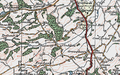 Old map of Y Golfa in 1921
