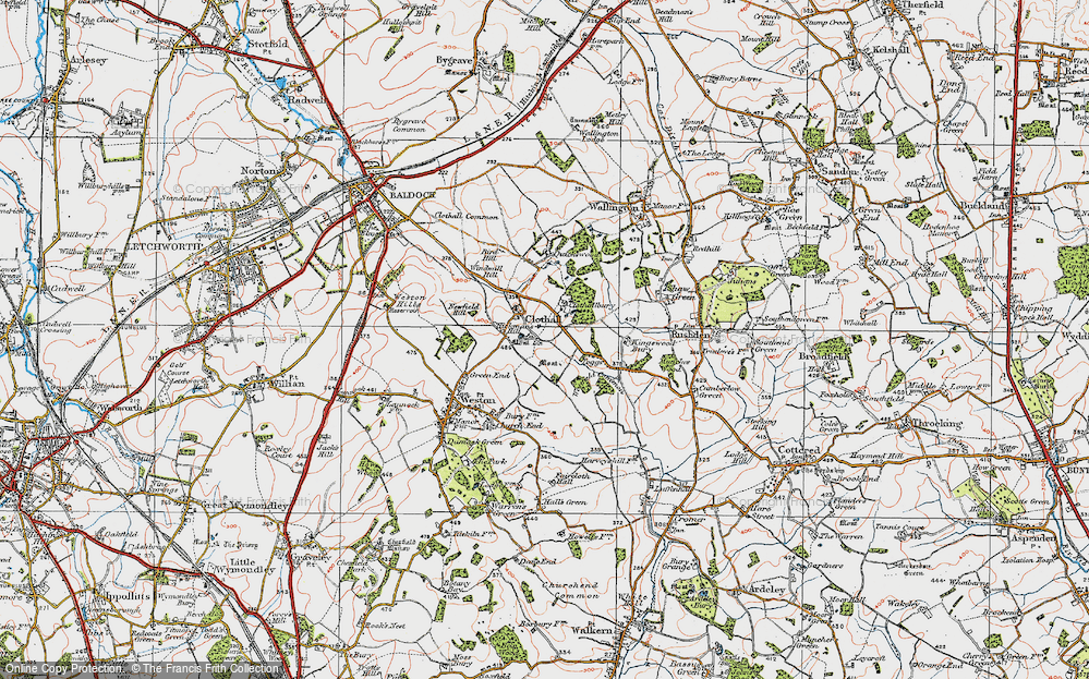 Old Map of Historic Map covering Toggs in 1919