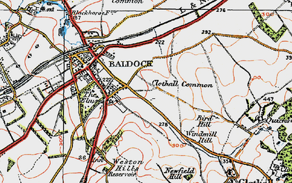 Old map of Clothall Common in 1919