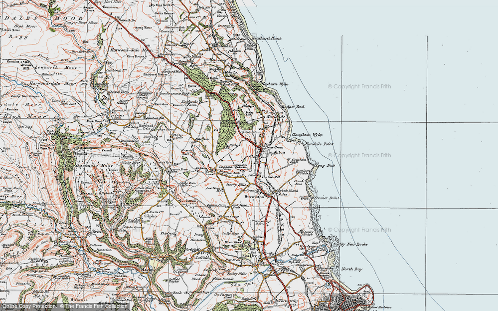 Old Map of Historic Map covering Lindhead Beck in 1925