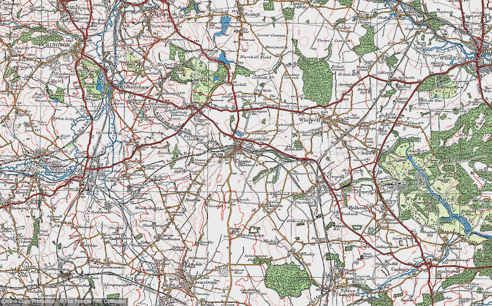 Old Map of Clowne, 1923 in 1923