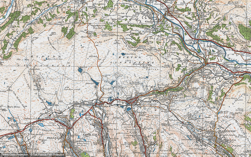 Old Map of Historic Map covering Agen Allwedd in 1919