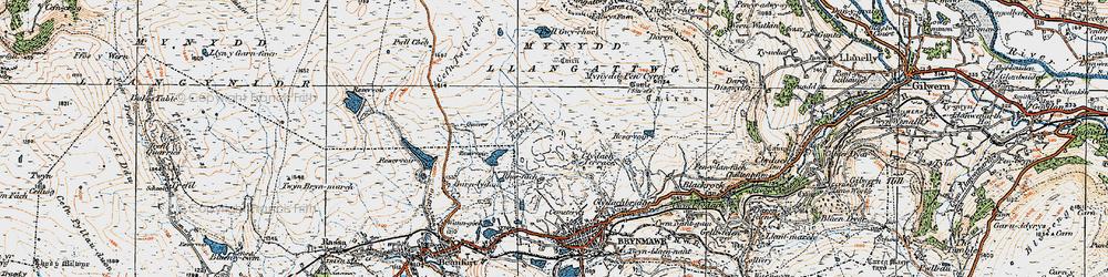 Old map of Agen Allwedd in 1919