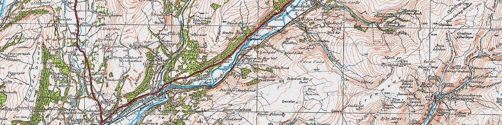 Old map of Ynys-dwfnant in 1923