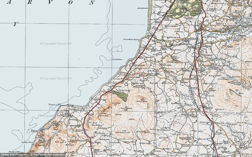 Old Map of Historic Map covering Bach Wen in 1922