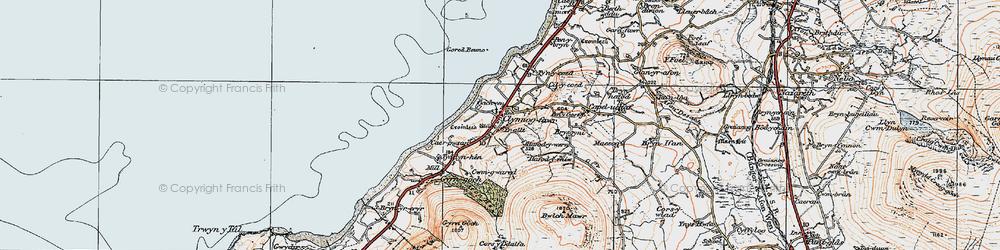Old map of Clynnog-fawr in 1922