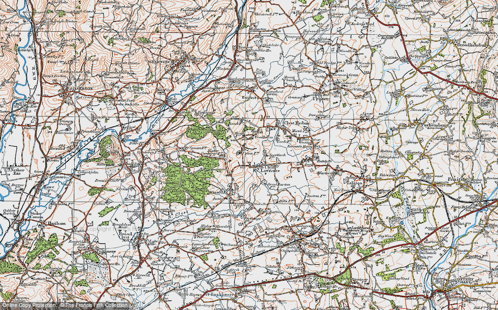 Old Map of Historic Map covering Woodhayes in 1919