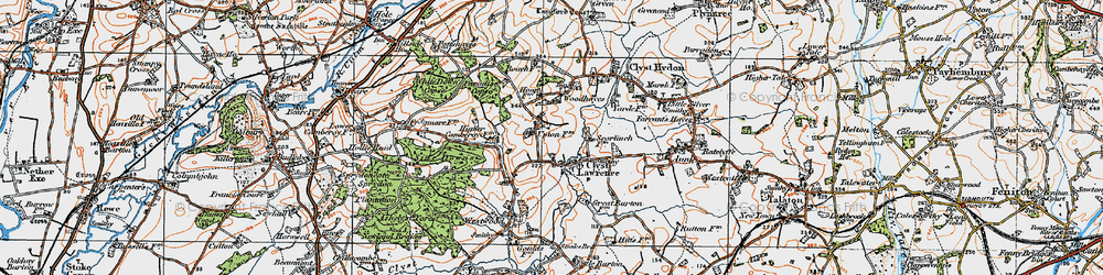 Old map of Woodhayes in 1919