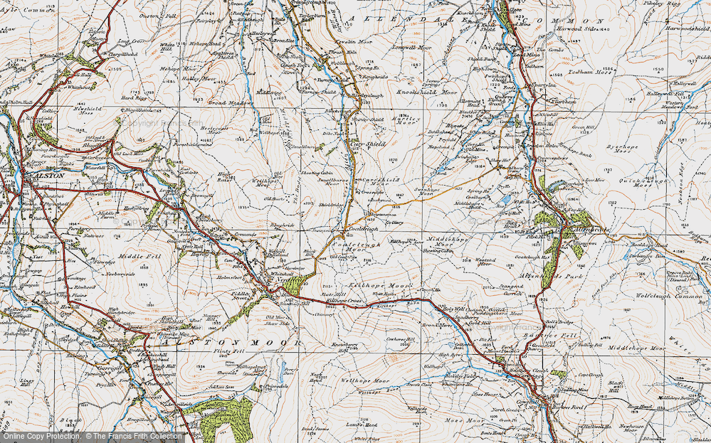 Old Map of Historic Map covering Allendale Common in 1925