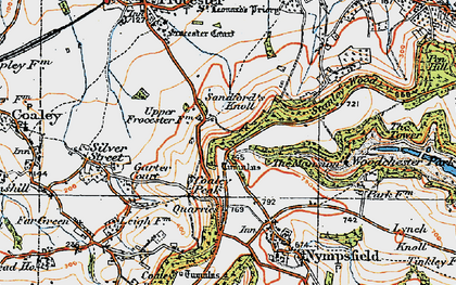 Old map of Coaley Peak in 1919