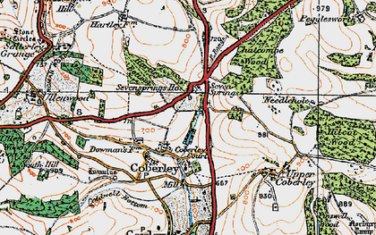 Old map of Coberley in 1919
