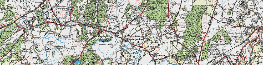 Old map of Cobham in 1920