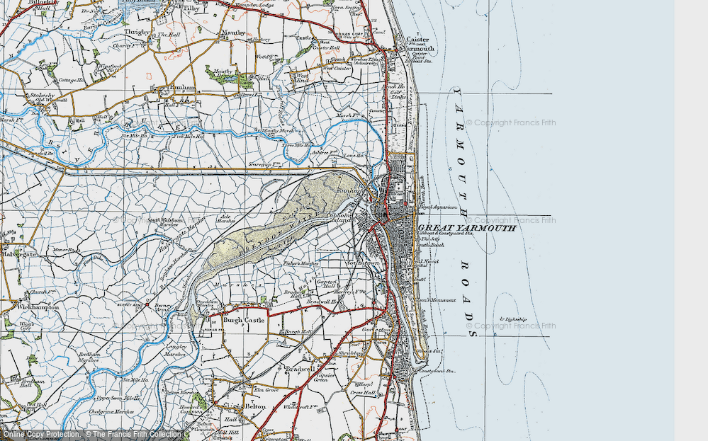 Old Map of Historic Map covering Acle Marshes in 1922