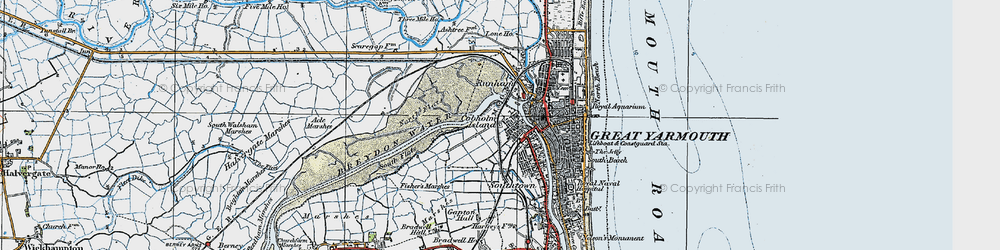Old map of Acle Marshes in 1922