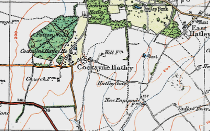 Old map of Cockayne Hatley in 1919