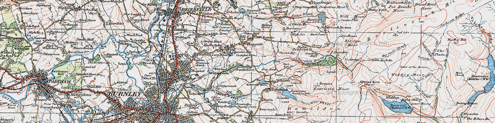 Old map of Thursden Brook in 1924