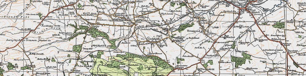 Old map of Cockfield in 1925