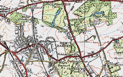 Old map of Cockfosters in 1920
