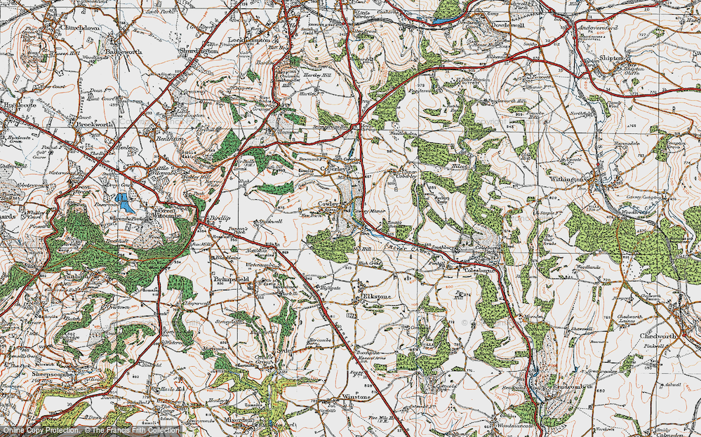 Old Map of Historic Map covering Tomtit's Bottom in 1919