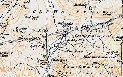 Old map of Wrynose Breast in 1925