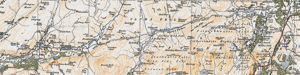 Old map of Wet Side Edge in 1925