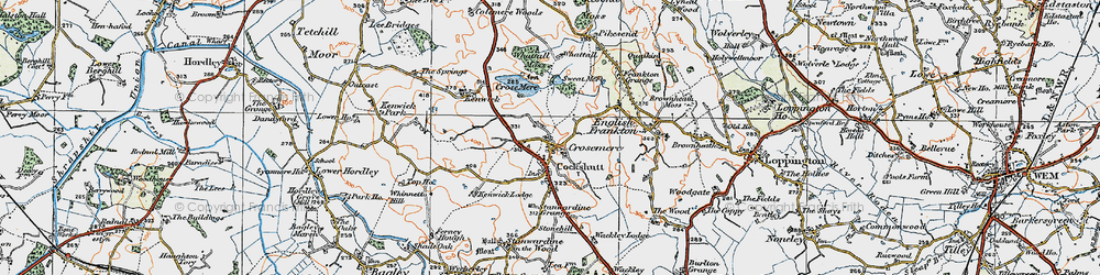 Old map of Whattal in 1921